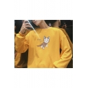 Cartoon Cat Letter EXOTIC CAT Printed Round Neck Long Sleeve Pullover Sweatshirt