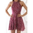 Fashion Tropical Leaf Printed Halter Neck Sleeveless Casual Burgundy Mini A-Line Dress