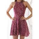 Fashion Tropical Leaf Printed Halter Neck Sleeveless Casual Burgundy Mini A-Line Dress