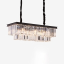 Rectangle Pendant Lighting Dining Room 6/8 Lights Modern Hanging Lights with Adjustable Cord in Black/Gold