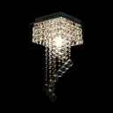 Modern Nickel Flush Ceiling with Rectangle Canopy 1 Light Clear Crystal Hanging Chandelier