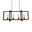 Rectangle Kitchen Light Fixtures Metal 4 Lights Vintage Height Adjustable Island Pendants with 39