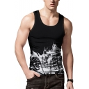 Men's Summer Cool Skull Printed Sleeveless Black Fitted Singlet Tank