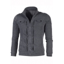 Mens Fashion Solid Color Stand-Collar Button Embellished Flap Pocket Front Fitted Zip Up Sweatshirt Jacket