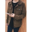 Mens New Trendy Solid Color Long Sleeve Flap Pocket Front Button Down Corduroy Coat Jacket