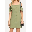 Sexy Green Off The Shoulder Buttons Down Short Sleeve Plain Mini Sheath Dress