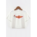 Summer Round Neck Short Sleeve Letter HOT Printed Copped White T-Shirt
