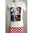Summer Trendy Figure Letter Floral Patched Round Neck Short Sleeve Casual White T-Shirt