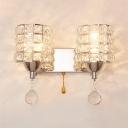 Clear Crystal Cylinder Wall Mounted Lighting 2 Lights Modern Style Sconce Light for Bathroom, 10.5