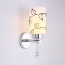 Modern Style Cylinder Wall Mounted Light Fixture Frosted Glass Sconce Lighting with Clear Crystal
