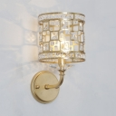 Antique Style Cylinder Sconce Light Metal and Clear Crystal 1/2 Lights Wall Lighting Fixture for Bedroom