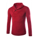 Mens Fashion Turn-Down Collar Button Embellished Long Sleeve Solid Color Slim Sweater