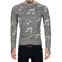 Men's New Popular Allover Musical Note Printed Crew Neck Fashion Slim Sweater