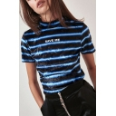 Women's Fashion Stripes Letter SAVE ME Printed Mock Neck Short Sleeve Blue T-Shirt