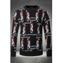 Creative Fashion Chain Tiger Printed Mens Crewneck Jacquard Pullover Black Sweater