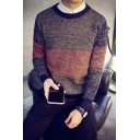 Mens New Stylish Colorblock Round Neck Long Sleeve Marled Knit Jumper