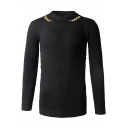 Unique Wheat Embroidery Crewneck Long Sleeve Pullover Slim Sweater for Men