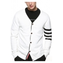 Mens New Fashion V-Neck Button Down Signature Stripe Long Sleeve Fitted Thin Cotton Cardigan
