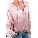 Fashion Allover Star Printed Drawstring V-Neck Long Sleeve Loose Blouse