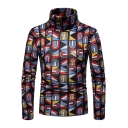 Creative Geometric Graffiti Printed High Neck Slim Fit Mens Basic Sweater