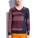 Mens Ethnic Style Striped Colorblocked V-Neck Long Sleeve Slim Fit Sweater