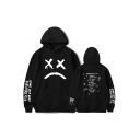 Popular American Rapper Sad Face Letter Print Loose Fit Unisex Pullover Hoodie