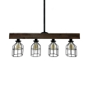 Metal Wire Frame Island Lamp 4 Lights Rustic Island Lighting in Black for Dining Room