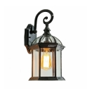 Clear Glass Lantern Wall Light Vintage Waterproof Sconce Light in Black/Gold for Pathway Garden