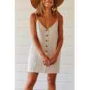 Womens Summer Comfortable Linen Button Down Beige Mini Slip Dress