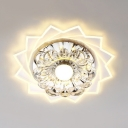 Clear Crystal Flower Flush Mount Light Modern Ceiling Lamp in White for Living Room