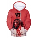 American Rapper 3D Letter Figure Printed Long Sleeve Relaxed Fit Drawstring Hoodie