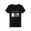 We Bare Bears Cartoon Letter Animal Pattern Short Sleeve Round Neck Slim Fit T-Shirt