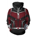 Cool 3D Printed Cosplay Costume Long Sleeve Burgundy Drawstring Hoodie