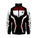 Cosplay Costume Long Sleeve Color Block Zip Up Jacket