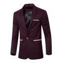 Men's Stylish Casual Plaid Pattern Single Button Long Sleeve Red Wedding Suits Formal Blazer Jacket