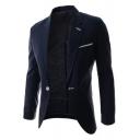 Simple Plain Slim Fit Long Sleeve Notched Lapel Single Button Mens Suit Jacket
