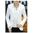 New Stylish Print Long Sleeve Single Button Notch Lapel Slim Blazer Jackets for Men