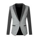 New Trendy Color Block Zip Embellished Long Sleeve Single Button Notched Lapel Split Back Blazer Coat