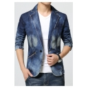 Mens Fashion Long Sleeve Notched Lapel Collar Single Button Blue Denim Blazer for Men