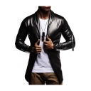Cool Solid Zipper Embellish Shawl Collar Long Sleeve Open Front Slim PU Blazer Jacket for Men