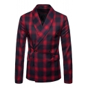 Fashion Plaid Printed Shawl Collar Double Breasted Long Sleeve Men's Blazer Coat