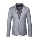 Men's Casual Notched Lapel Stripe Patched Single Button Long Sleeve Split Back Prom Suit Blazer Jacket