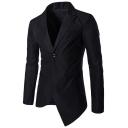 Mens Solid Peak Lapel Single Button Long Sleeve Asymmetric Hem Slim Fit Dress Suit Blazer