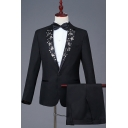 Men's Stylish Floral Applique Notched Lapel Long Sleeve Black Prom Tuxedo Suit Set