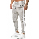 New Arrival Mens Striped Side Drawstring Waist Fitted Sport Pants Sweatpants