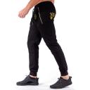 Guys Street Style Letter SQUAD WEAR Logo Printed Zip Embellished Drawstring Waist Cotton Stretch Slim Fit Sweatpants