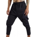 Men's Vintage Medieval Unique Quick-Drying Plain Drawstring Waist Grommet Lace-Up Cuff Cotton Cropped Pants