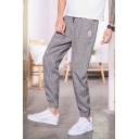 Mens Street Style Logo Patched Drawstring Waist Comfort Linen Casual Tapered Trousers Pants
