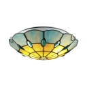 Beige and Blue Pattern 12 Inch Flush Mount Ceiling Light in Tiffany Stained Glass Style