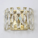 Clear Crystal Wall Sconce 2 Lights Contemporary Metal Wall Light in Gold for Hallway
